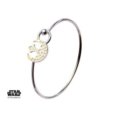 Star wars rebel alliance symbol with clear gem bangle bracelet