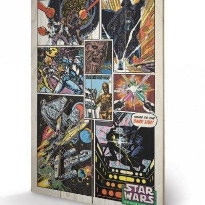 Star wars retro comic impression sur bois 40x59cm