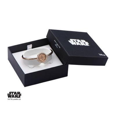 Star wars rose gold pvd plated empire symbol with cz bangle bracelet