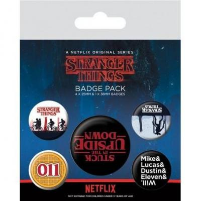 Stranger things pack 5 badges upside down