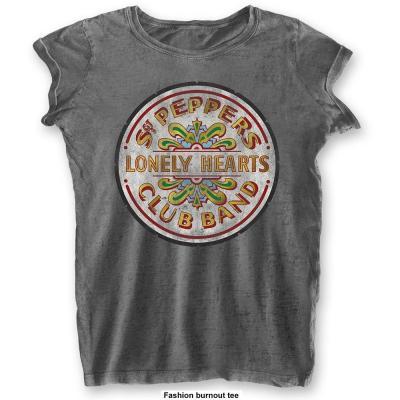 The beatles t shirt burnout col sgt pepper drum woman