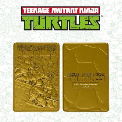 Tmnt comic carte en metal plaque or collector