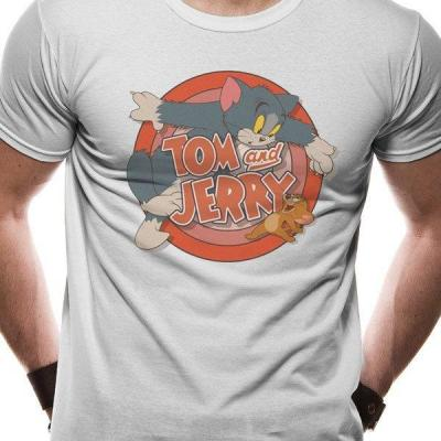 Tom and jerry t shirt in a tube retro logo
