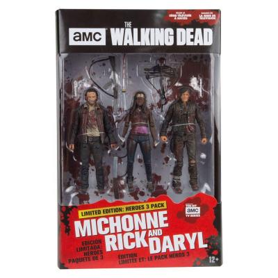 Walking dead action figure 3 pack michonne rick daryl 13cm