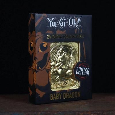 Yu gi oh baby dragon carte en metal plaque or collector