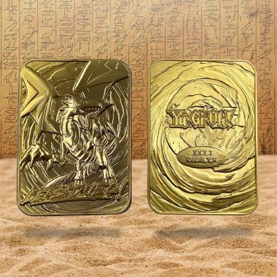 Yu gi oh dragon blanc aux yeux bleus carte metal plaquee or 24k