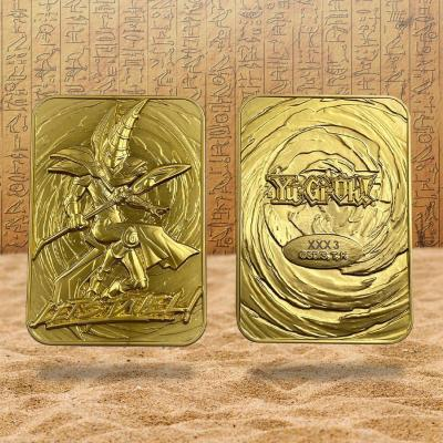 Yu gi oh magicien sombre carte metal plaquee or 24k