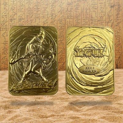 Yu gi oh magicienne des tenebres carte metal plaquee or 24k